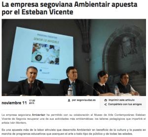 """""""La empresa segoviana Ambientair apuesta por el Esteban Vicente"""" . Artículo en Segoviaudaz.es"""