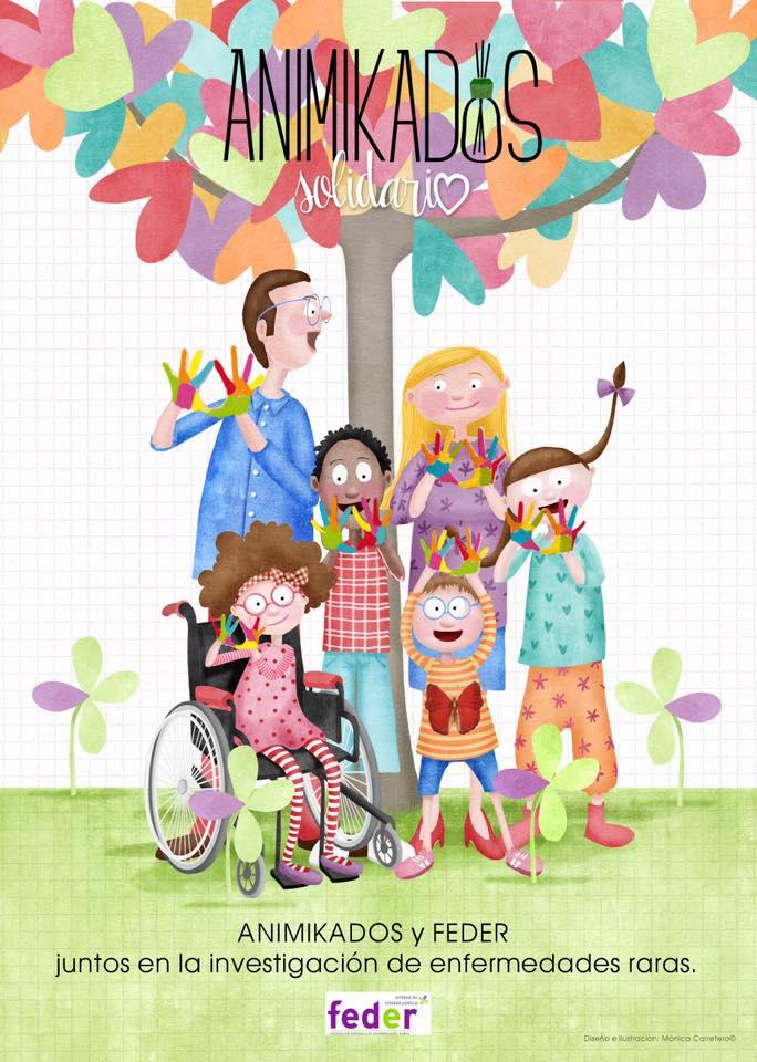 Ilustración de Animikados Solidarios de enfermedades raras (FEDER)